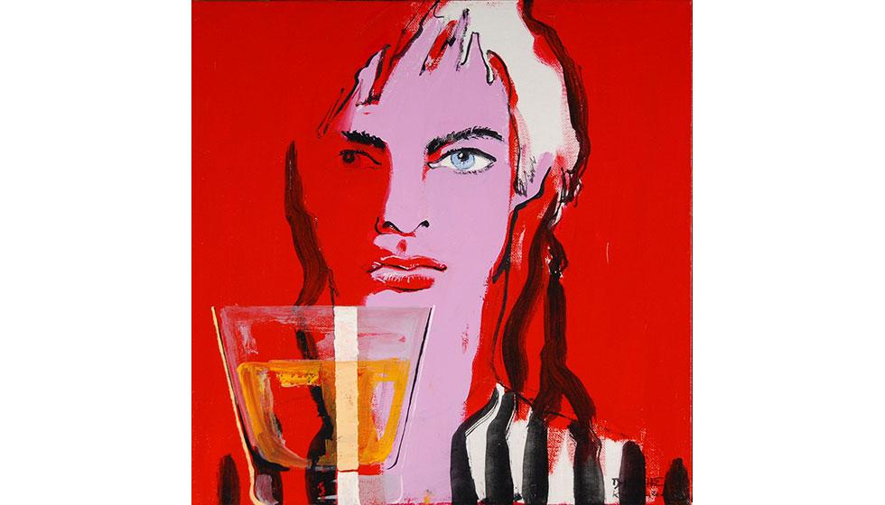 Βασίλης Καρακατσάνης  'Alcohol' 50X50εκ. ακρυλικό σε καμβά 2010 (ιδιωτική συλλογή, Κίτο, Ισημερινός)