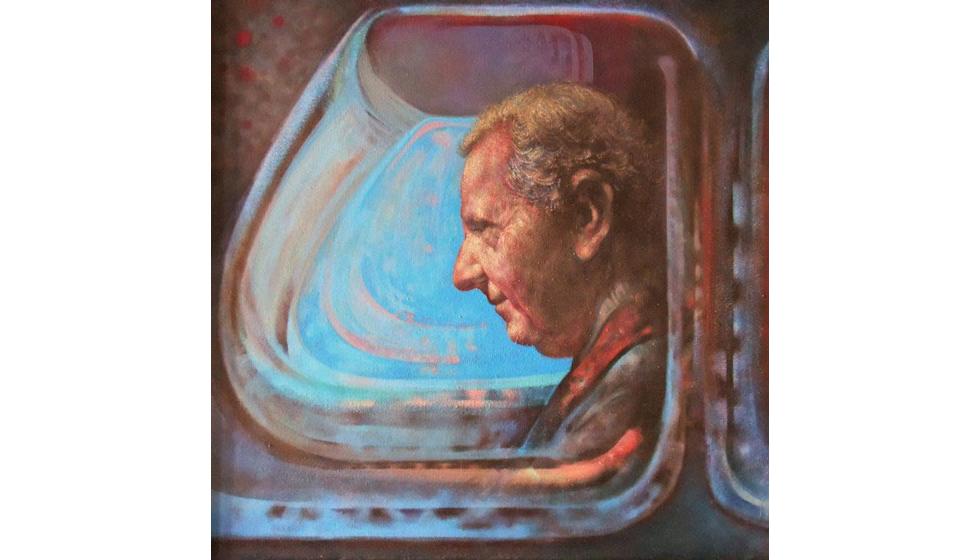 Πορτραίτο, ακρυλικό και λάδι σε ύφασμα, 50x50cm