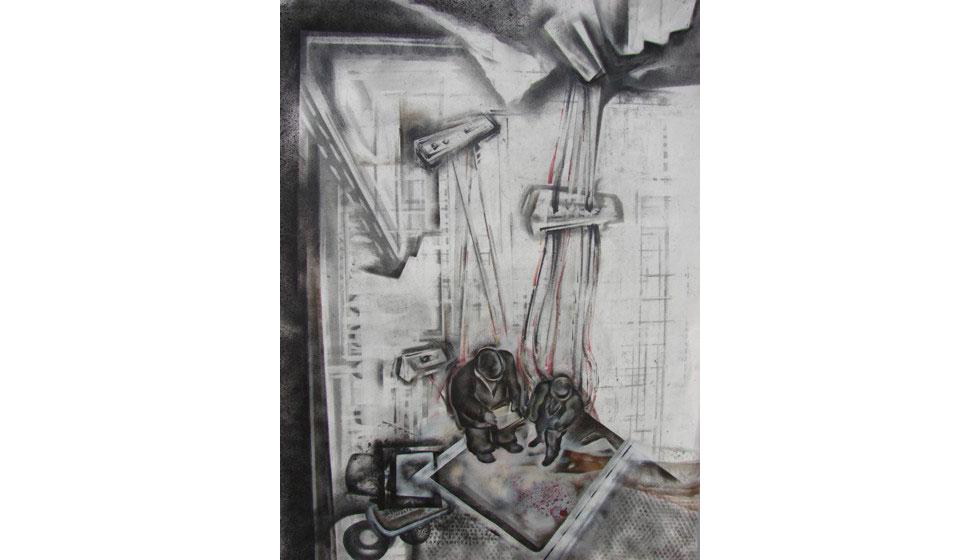 Μύθοι του Αισώπου 2, ακρυλικό και γραφίτης σε χαρτί, 40x60cm
