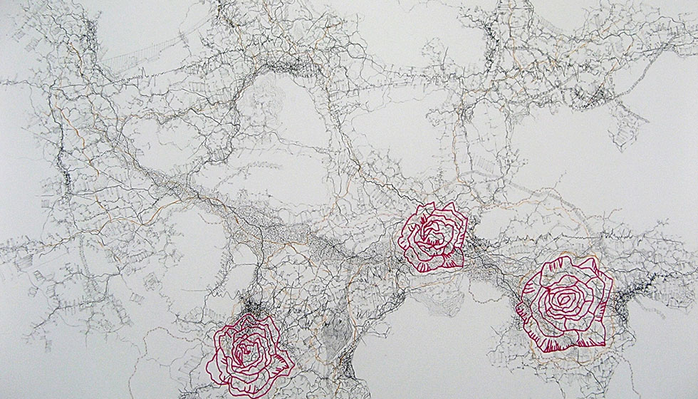 Rosa, pencils stitching on paper, 50 x 70 cm