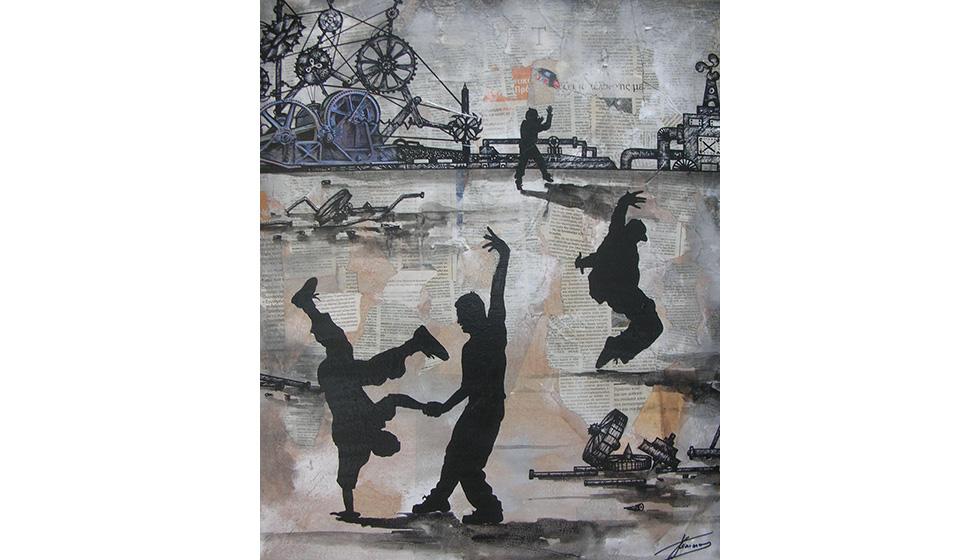 Break Dance in Industrial Landscape, 50 x 60εκ, μικτή τεχνική σε καμβά