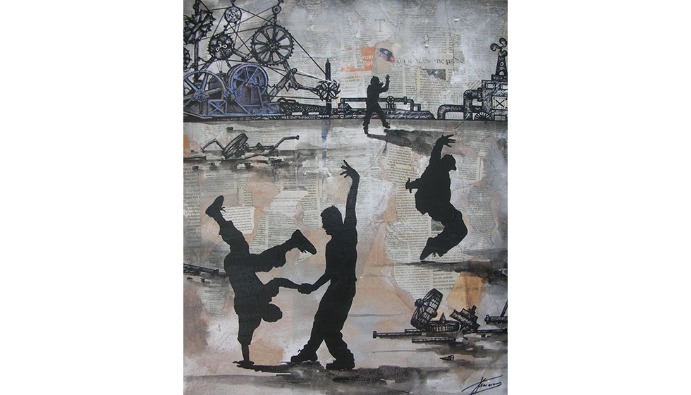 Break Dance in Industrial Landscape, 50 x 60cm,  mixed technique on canvas
