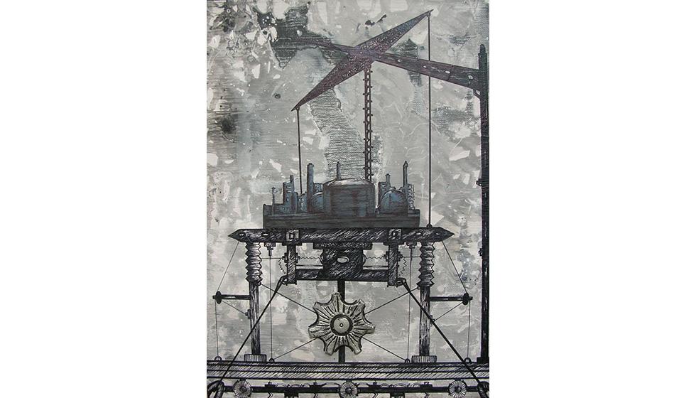 The Extruder, 25 x 35εκ, μικτή τεχνική σε καμβά