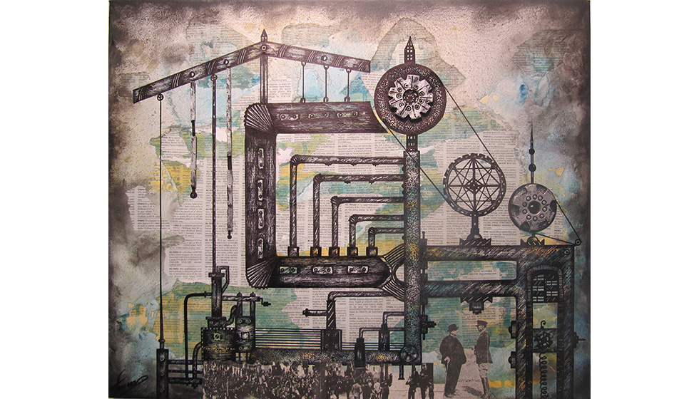 Souls in Tubes and Gears, 50 x 60cm, mixed technique on canvas