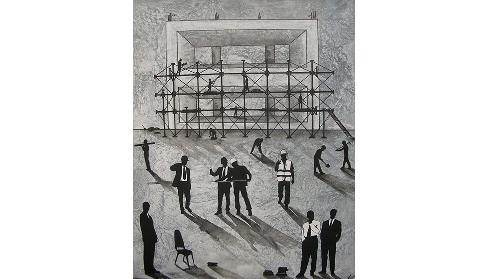 Building Up, 60 x 70cm, mixed technique on canvas