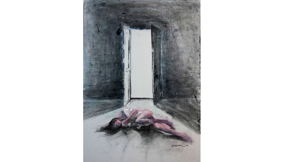 into the light, coal and dry paastel on paper, 50 x 70cm