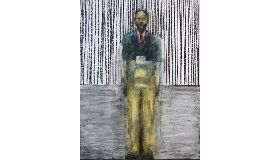 the expendable, coal and dry pastel on paper, 50 x 70cm