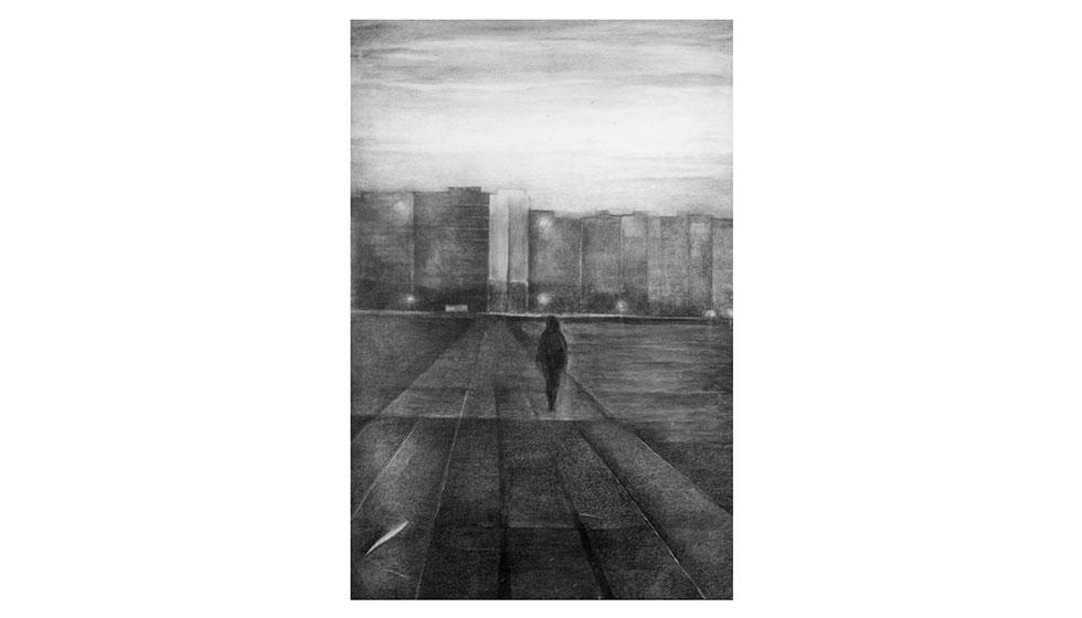 ταξίδι, κάρβουνο, 140 x 95εκ